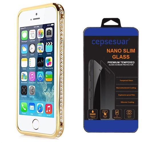 Cepsesuar Apple İphone 5 - 5S Kılıf Bumper Taşlı Gold + Kırılmaz Cam