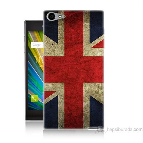 Teknomeg Casper Via V9 Kapak Kılıf İngiltere Bayrağı Baskılı Silikon