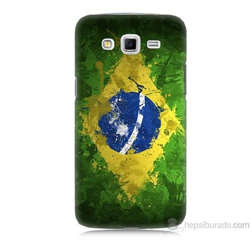 Teknomeg Samsung Galaxy Grand 2 Kapak Kılıf Birezilya Bayrak Baskılı Silikon