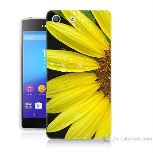 Teknomeg Sony Xperia M5 Kapak Kılıf Sarı Çiçek Baskılı Silikon