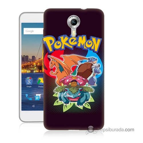 Teknomeg General Mobile Discovery 4G Andorid One Kapak Kılıf Pokemon Baskılı Silikon