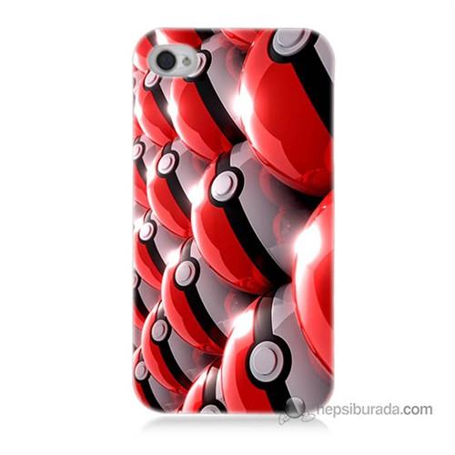 Teknomeg İphone 4S Kapak Kılıf Pokemon Pokeball Baskılı Silikon