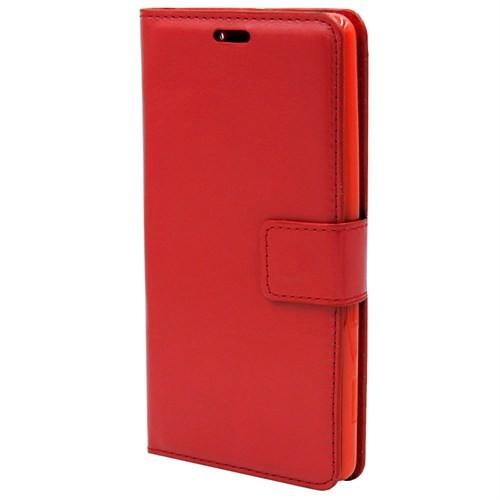 Kny Sony Xperia T3 Cüzdanlı Kapaklı Kılıf Kırmızı+Kırılmaz Cam