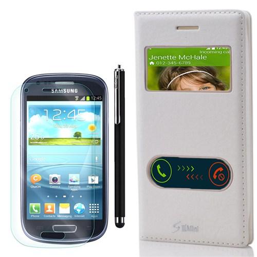 Cep Market Samsung Galaxy S3 Mini Kılıf Pencereli Dolce +Kalem+Kırılmaz Cam