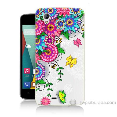 Teknomeg General Mobile Discovery 2 Mini Çiçek Ve Kelebek Baskılı Silikon Kapak Kılıf