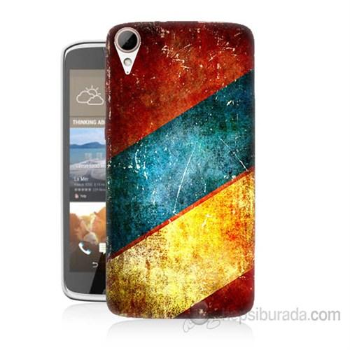 Teknomeg Htc Desire 828 Renkli Metal Baskılı Silikon Kapak Kılıf
