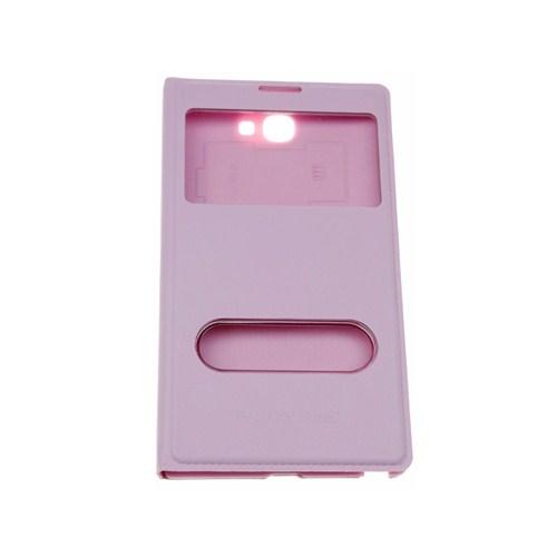 Case 4U Samsung Note 2 N7100 Pencereli Flip Cover Pembe