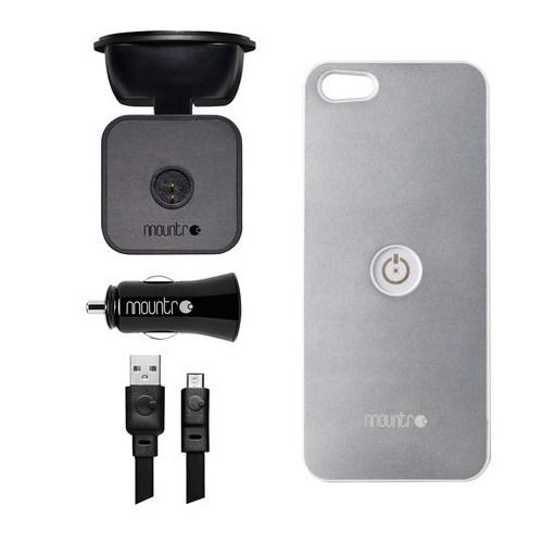 Mountr iPhone 5/5S Uyumlu Akıllı Araç Tutacağı ( Gümüş Kapak ) - SK-SCM-i5S