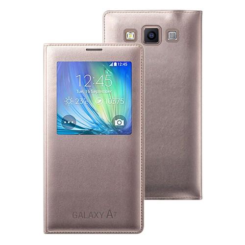 Microsonic View Cover Delux Kapaklı Samsung Galaxy A7 Kılıf Akıllı Modlu Altın Sarı - CS150-V-DLX-GLX-A7-SRI