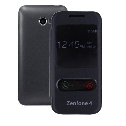 Microsonic Dual View Delux Kapaklı Asus Zenfone 4 Kılıf Siyah