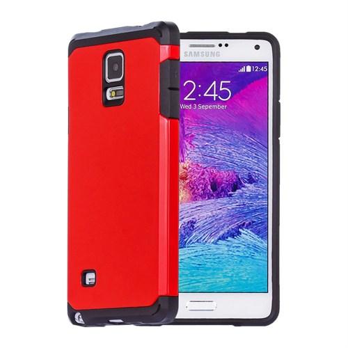 Microsonic Slim Fit Dual Layer Armor Samsung Galaxy Note 4 Kılıf Kırmızı