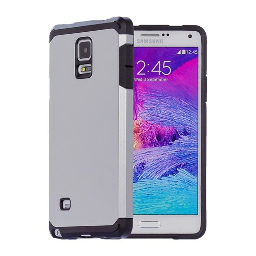 Microsonic Slim Fit Dual Layer Armor Samsung Galaxy Note 4 Kılıf Gümüş