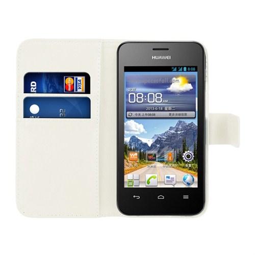 Microsonic Cüzdanlı Deri Huawei Ascend Y320 Kılıf Beyaz