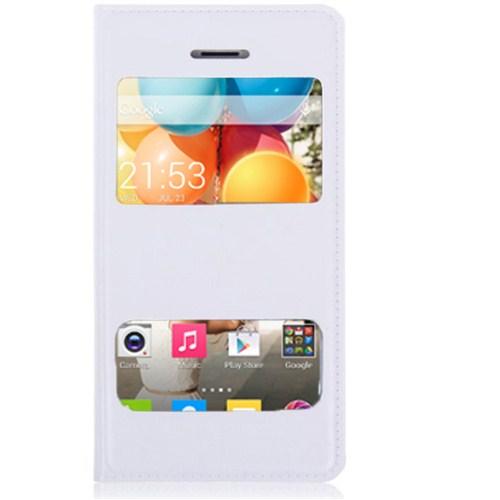 Microsonic Dual View Delux Kapaklı Kılıf General Mobile Discovery 2 Beyaz