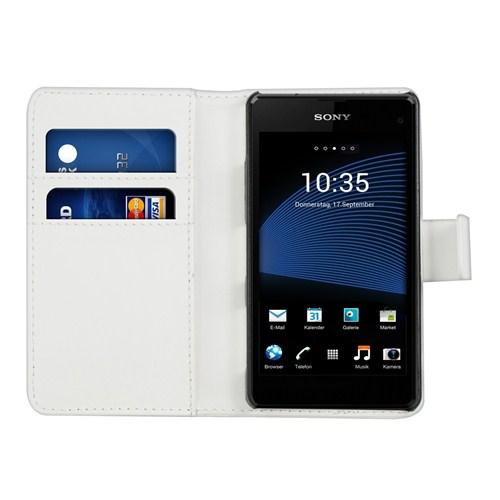 Microsonic Cüzdanlı Deri Sony Xperia Z1 Compact Kılıf Beyaz