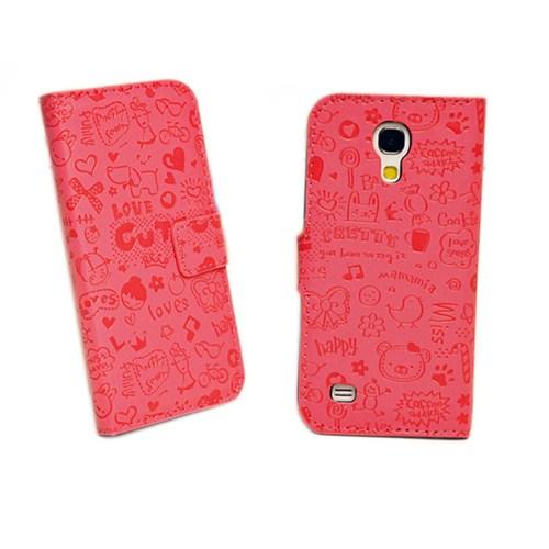 Microsonic Cute Desenli Deri Kılıf Samsung Galaxy S4 Mini İ9190 Pembe