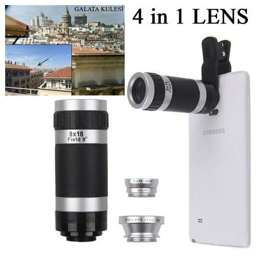 Markacase 4 İn 1 Lens 8X Teleskop-Balık Göz-Wide Angle-Macro Lens