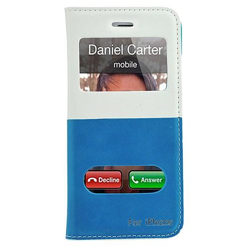 CoverZone İphone 6 Kılıf Çift Pencereli Standlı Mavi Beyaz