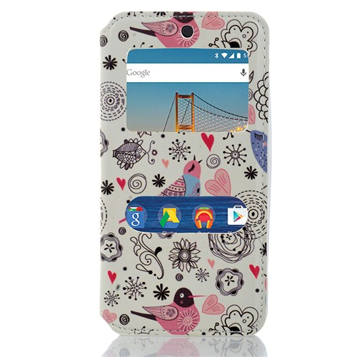 CoverZone General Mobile Android One 4G Kılıf Pencereli Kuşlu