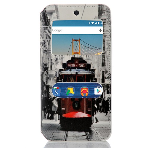 CoverZone General Mobile Android One 4G Kılıf Pencereli Taksim Tramvay
