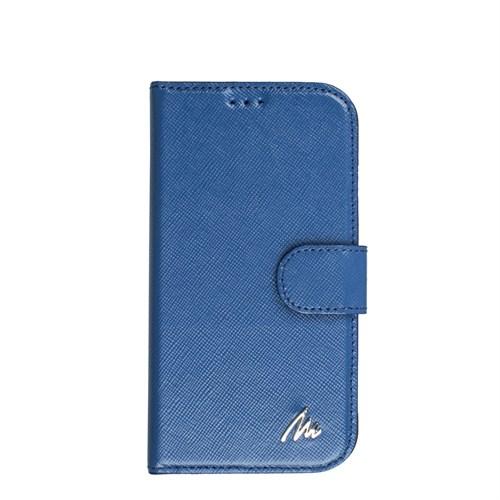 Matraş Galaxy S4 Stand Kartlıklı Cüzdan Kılıf Çuval Mavi