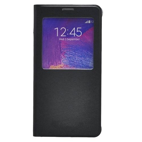 Case 4U Samsung Galaxy Note 5 Pencereli Flip Cover Siyah
