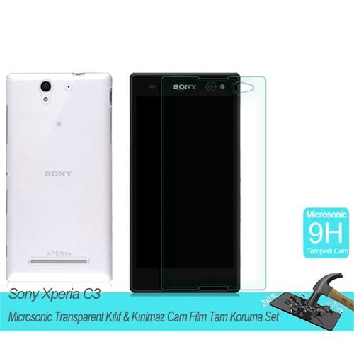 Microsonic Sony Xperia C3 Transparent Kılıf & Kırılmaz Cam Film Tam Koruma Set