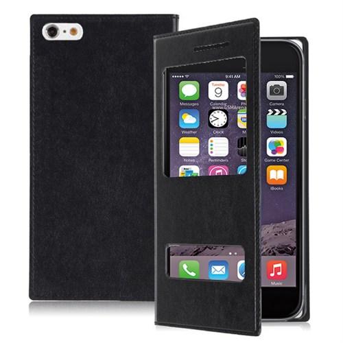 Microsonic Dual View Delux Kapaklı İphone 6 S Plus Kılıf Siyah