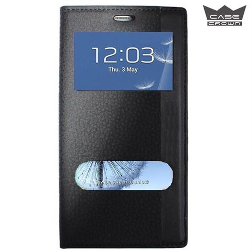 CaseCrown General Mobile 4G Android One Gizli Mıknatıslı Çift Pencereli Magnum Kılıf Siyah