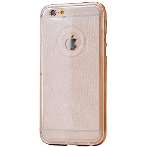 Lopard Apple İphone 5 5S Kılıf Kumlu Bumper Silikon Arka Kapak Altın