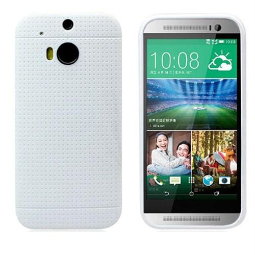 Case 4U Htc One M8 Dot Style Silikon Kılıf Beyaz