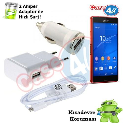 Case 4U Sony Xperia Z3 Compact 3İn1 Ev Ve Araç Şarj Seti