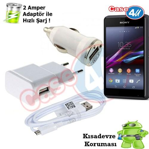 Case 4U Sony Xperia E1 3İn1 Ev Ve Araç Şarj Seti