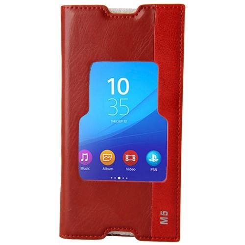 CoverZone Sony Xperia M5 Pencereli Magnum Kılıf Kırmızı