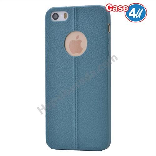 Case 4U Apple İphone 5S Desenli Silikon Kılıf Koyu Mavi