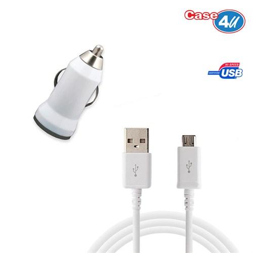 Case 4U Htc Desire 320 Araç Şarj Cihazı+Micro Usb Kablo