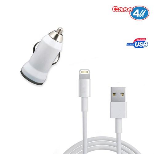 Case 4U Apple İphone 5 Araç Şarj Cihazı+Şarj Ve Data Kablosu