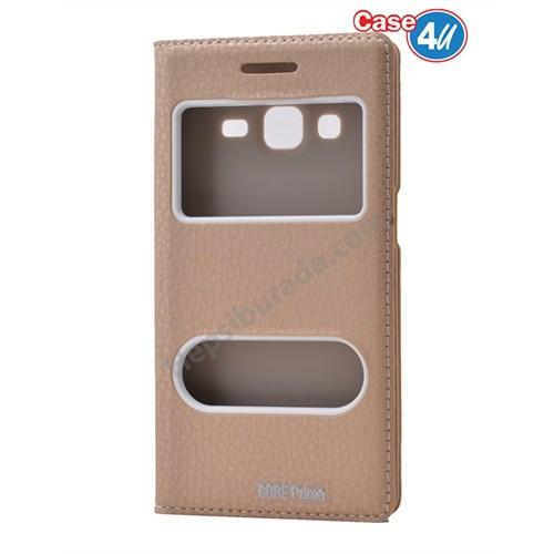 Case 4U Samsung Galaxy Core Prime Pencereli Kapaklı Kılıf Altın