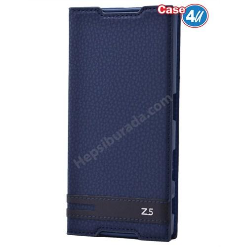 Case 4U Sony Xperia Z5 Gizli Mıknatıslı Kapaklı Kılıf Lacivert