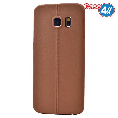 Case 4U Samsung Galaxy S6 Edge Desenli Silikon Kılıf Kahve