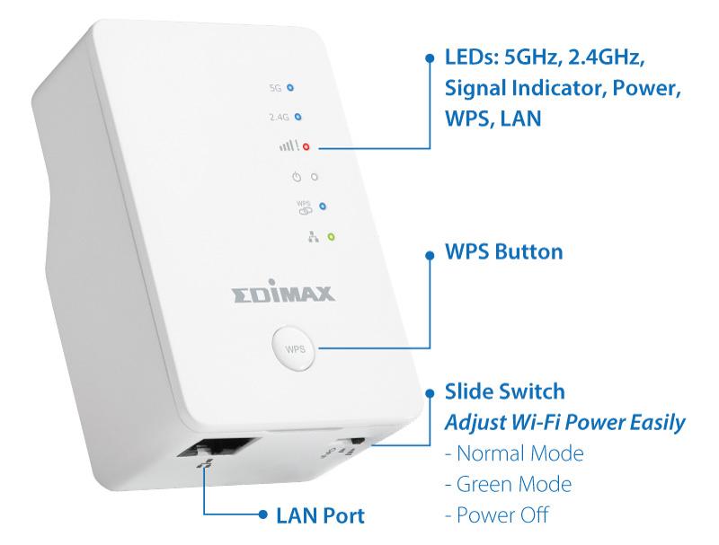 Edimax EW-7438AC Smart AC750 Wi-Fi Extender, Access Point, Wi-Fi Bridge, Eliminate Wi-Fi Dead Zones & Double Your Wi-Fi Coverage