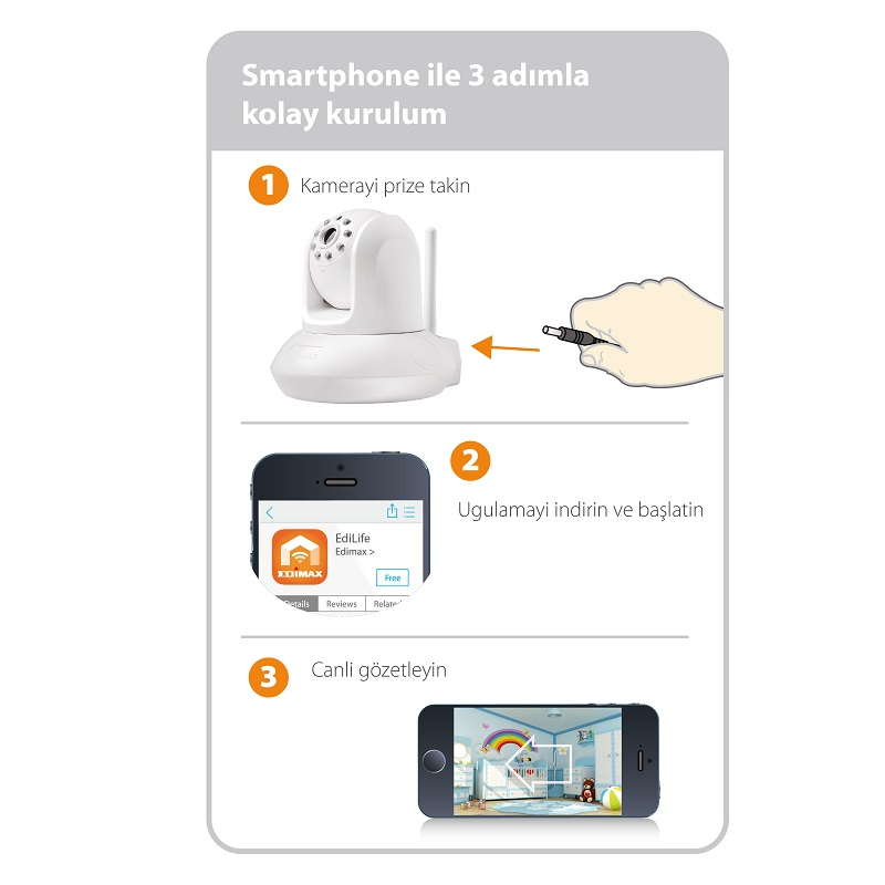 IC-7112W Smart HD Wi-Fi Pan/Tilt Network Camera, Day & Night, Free App, 3-step easy & smart EdiLife app setup