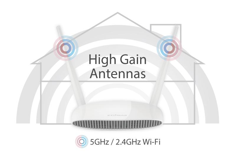 Edimax BR-6478AC V2 AC1200 Gigabit Dual-Band Wi-Fi Router with USB Port & VPN, high gain antennas