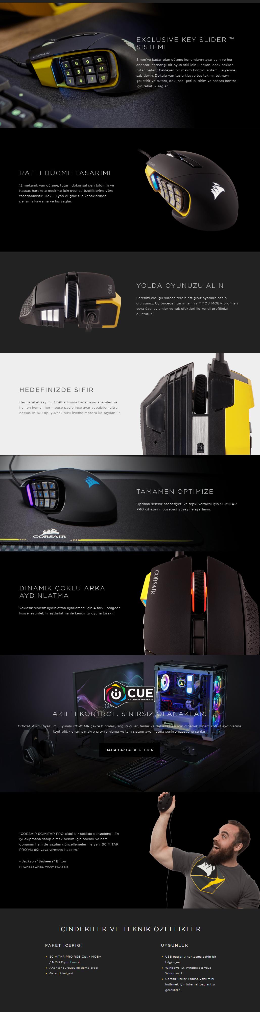 Corsair Gaming Scimitar Pro RGB Optik DPI Siyah Oyuncu Mouse
