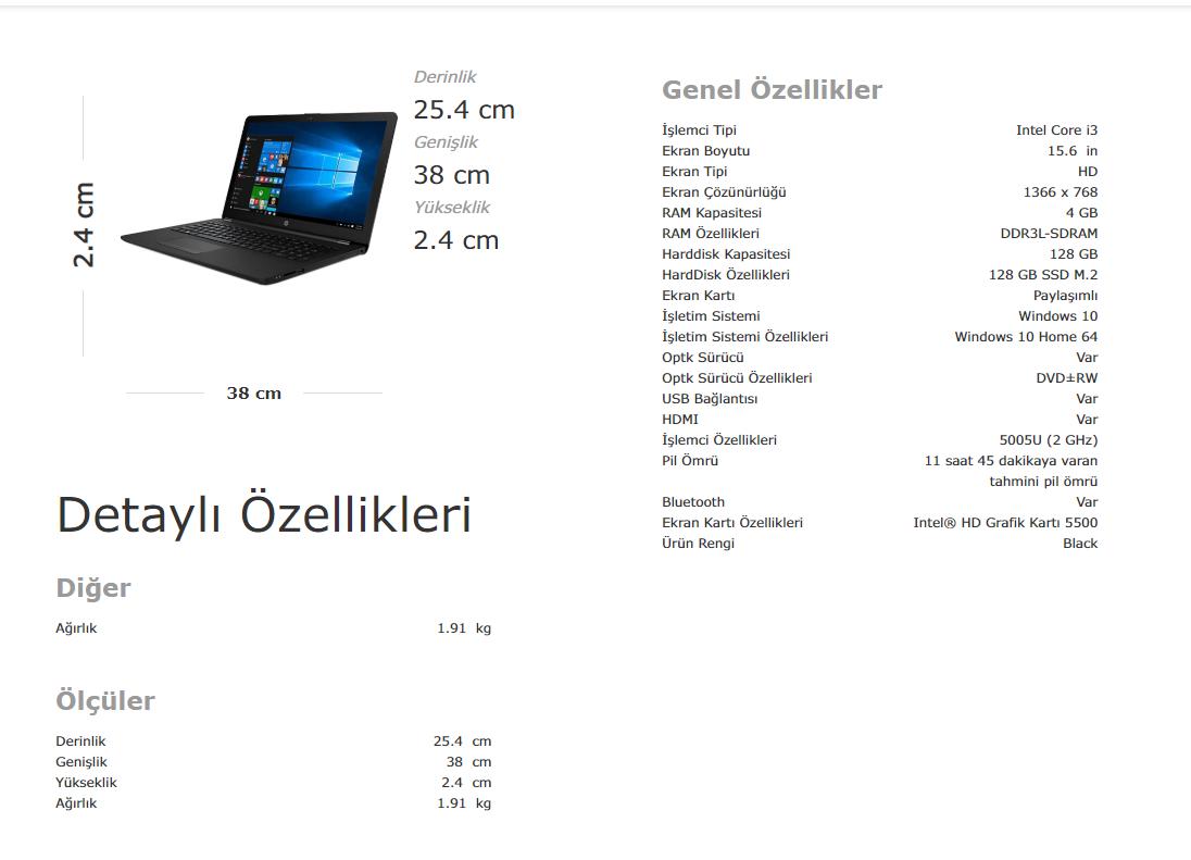 HP 15-BS152NT Intel Core i3 5005U 4GB 128GB SSD Windows 10 Fiyatı