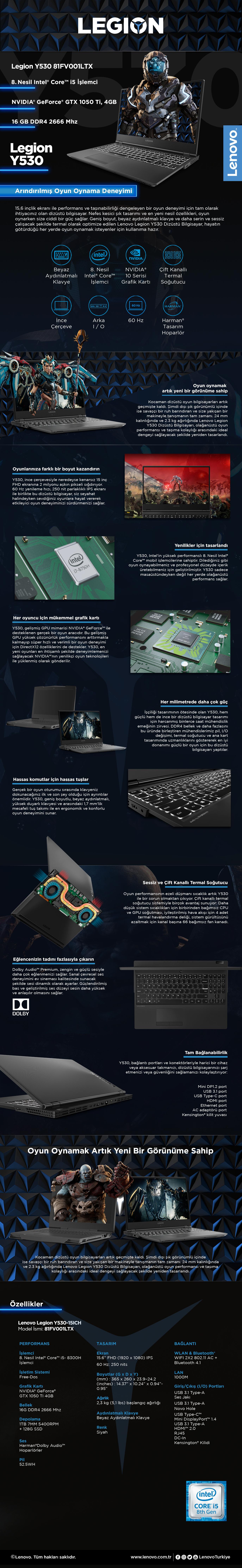 Lenovo Legion Y530-15ICH Intel Core i5 8300H 16GB 1TB + Fiyatı