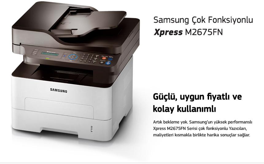 Samsung Çok Fonksiyonlu Xpress M2675FN Güçlü, uygun fiyatlı ve kolay kullanımlı Artık bekleme yok. Samsung'un yüksek performanslı Xpress M2675FN Serisi çok fonksiyonlu Yazıcıları, maliyetleri kısmakla birlikte harika sonuçlar sağlar.