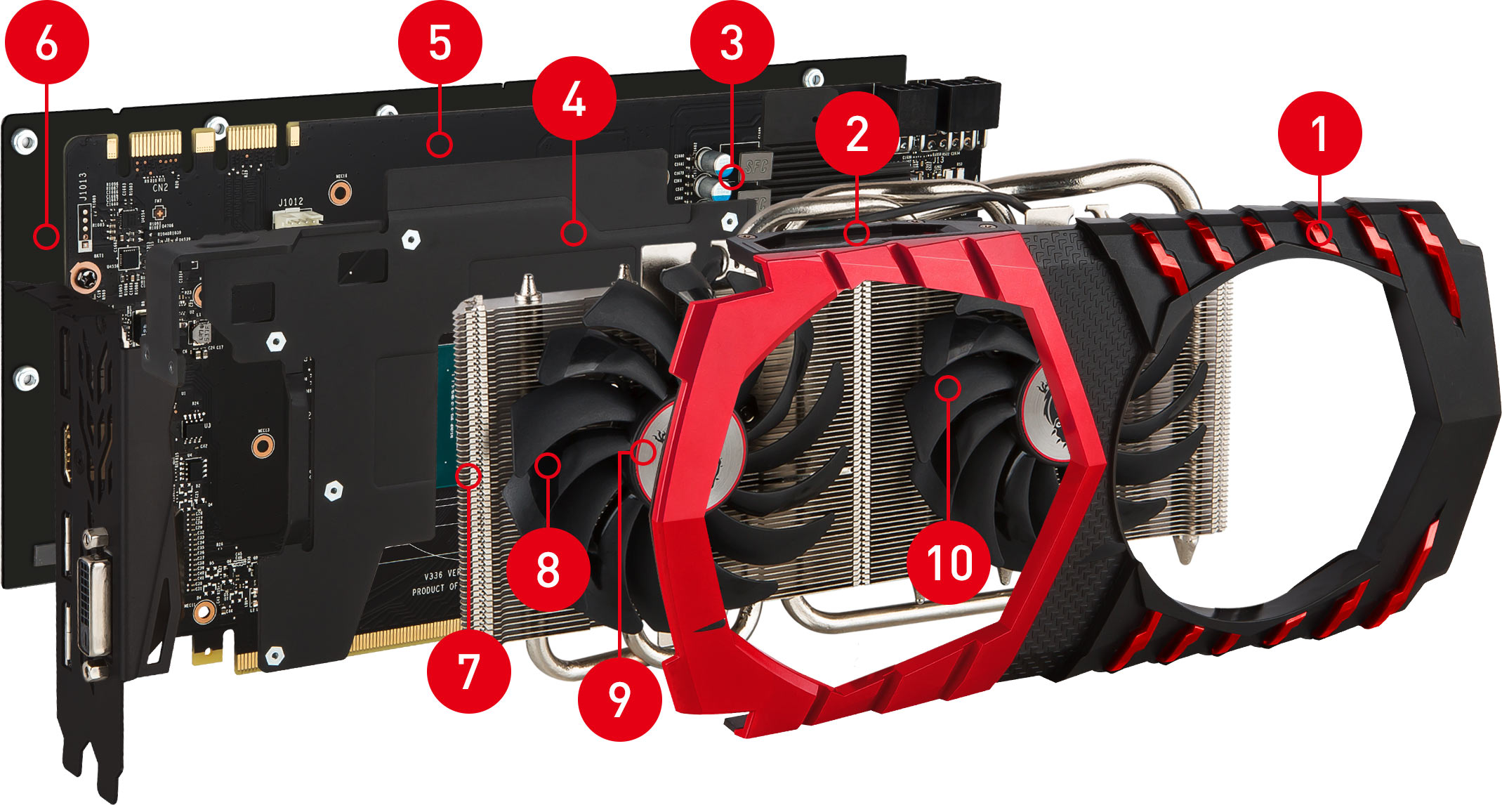 GTX 1080 GAMING X 8G exploded view