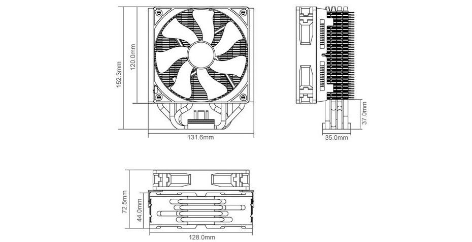 cooler master hyper t4 intel 2011  1366  1156  1155  775 amd