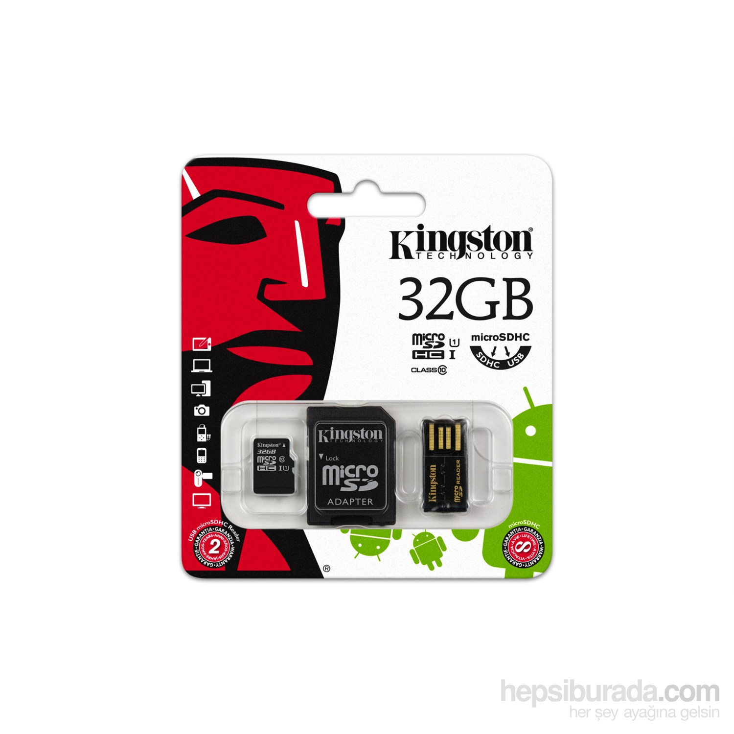 Kingston 32GB Mobility MicroSD Class 10 Sd + Usb Adaptör Kit Hafıza Kartı MBLY10G2/32GB